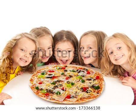 Happy kids with big pizza - stock photo