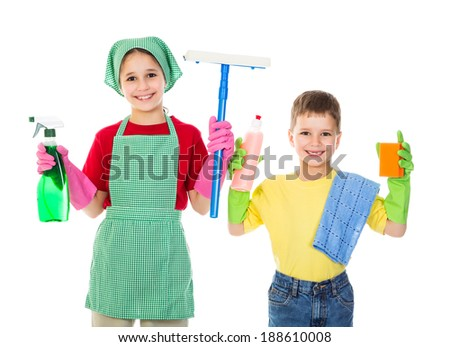 Happy kids with cleaning equipment, isolated on white - stock photo