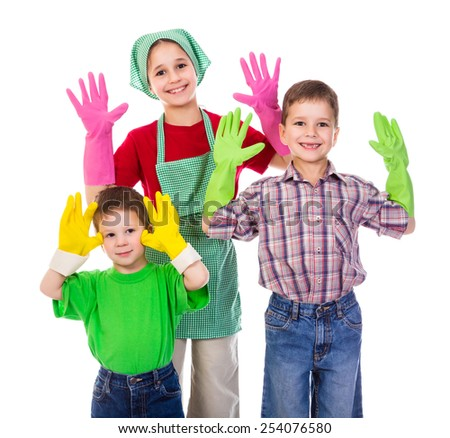 Happy kids with colorful gloves, isolated on white - stock photo