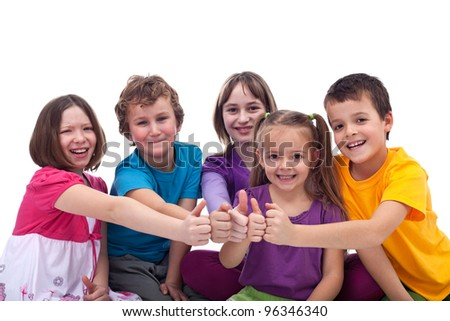 Happy kids working as a team - giving thumbs up sign - stock photo
