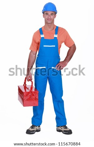 Happy laborer - stock photo