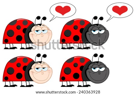 Happy Ladybird Cartoon Character. Raster Collection Set - stock photo