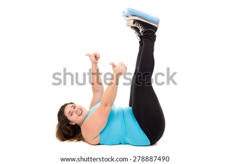 Happy large girl with weight scale isolated in white - stock photo
