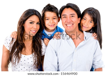 Happy Latin family smiling - isolated over a white background  - stock photo