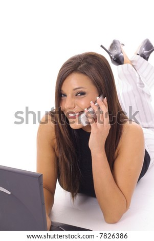 happy latino woman checking email - stock photo