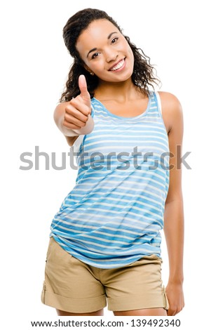 Happy latino woman thumbs up isolated on white background - stock photo