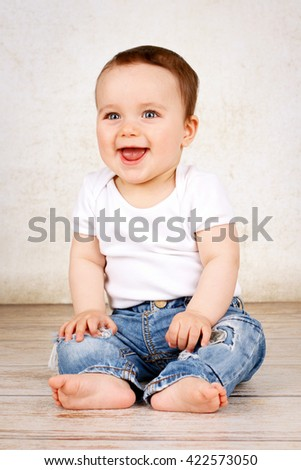 Happy laughing baby boy - stock photo