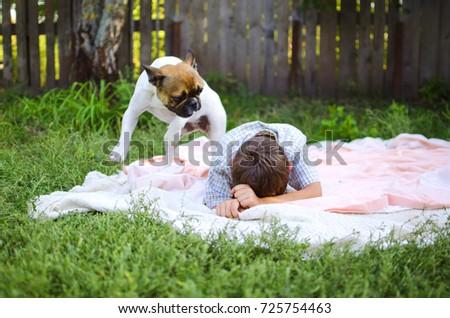 Happy Laughing Caucasian Boy French Bulldog Stock Photo Royalty