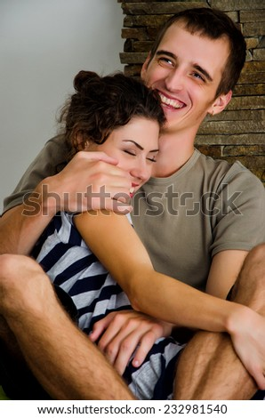 Happy laughing couple - stock photo