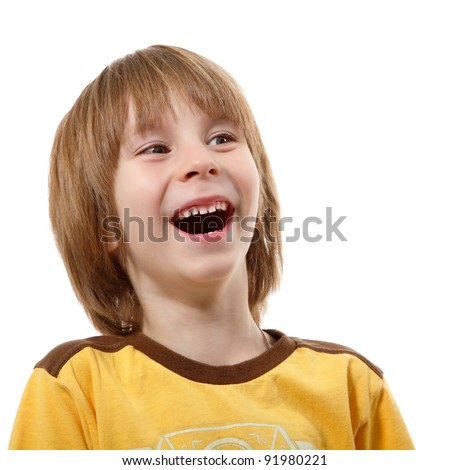 happy laughing little boy isolated on white background - stock photo