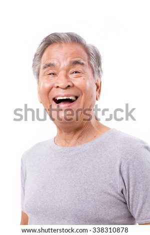 happy, laughing old man