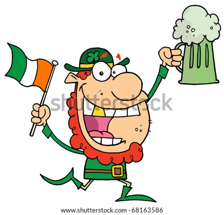 Happy Leprechaun With A Golden Tooth, Running With Green Beer And An Irish Flag
