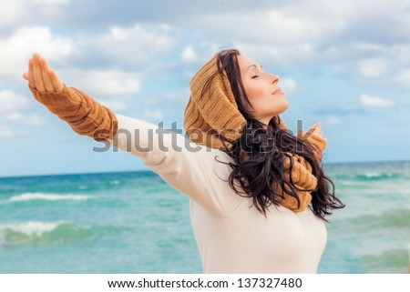 happy life breathing deep - stock photo