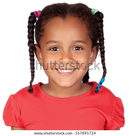 Happy little african girl isolated on a white background - stock photo