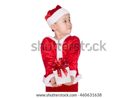 Happy little asian boy giving a gift. Happy Christmas child with a box on a white background - stock photo