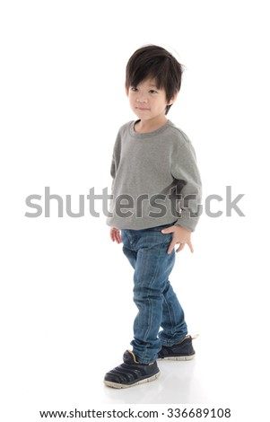 Happy little asian boy on white background isolated