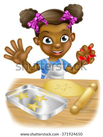 Happy little black girl child playing at being a baker baking cookies - stock photo