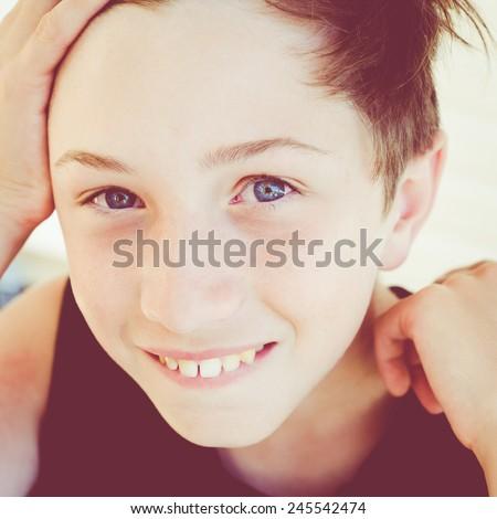 happy little boy face - stock photo