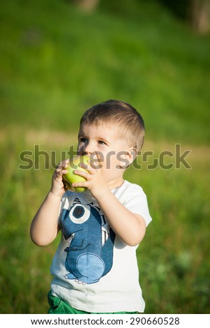 Happy little boy laughs and walks outdoors and holding big green apples. Child biting and eating a large green apple in the garden.