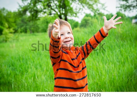 Happy little boy on green grass field with raised hands - stock photo