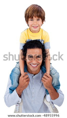 Happy little boy on his father's shoulders against a white background