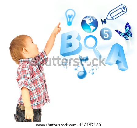 Happy little boy pointing up. Icons of different lessons flying near him. Primary education - stock photo