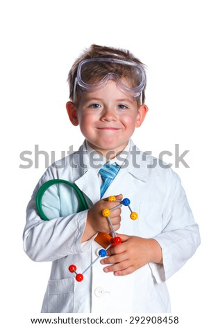 Happy little boy with flasks for chemistry and microscope. Isolated on a white background - stock photo