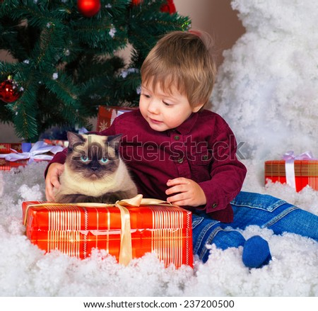 Happy little boy with siamese cat and Christmas present near decorated fir tree - stock photo