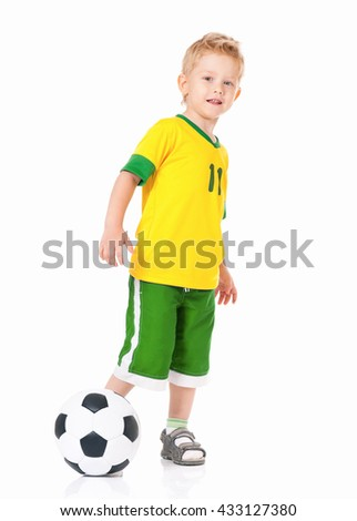 Happy little boy with soccer ball, isolated on white background