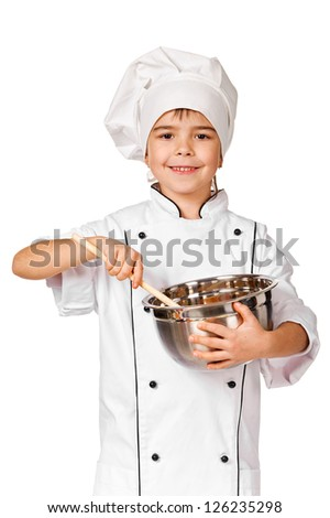 Happy little Chef girl with ladle girl having fun making cookies. Isolated over white background. Gourmet - stock photo