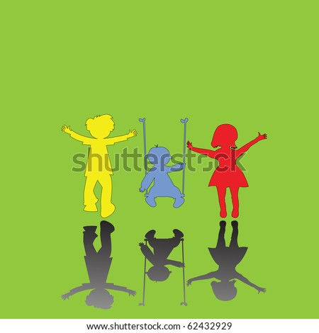 happy little children on green background, abstract art illustration; for vector format please visit my gallery - stock photo