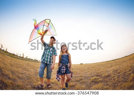 Happy little children playing with flying kite on the summer field