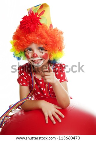 happy little clown pointing on something
