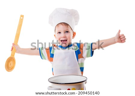 Happy little cook with ladle and pan, isolated on white - stock photo