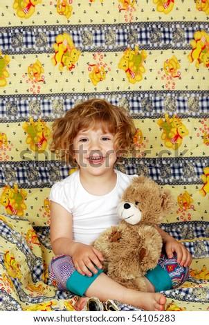 happy little girl bedtime - stock photo