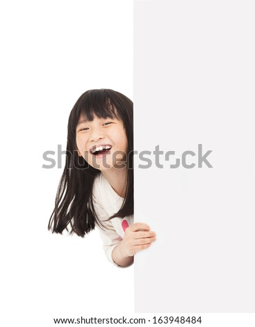 happy little girl behind a white board - stock photo