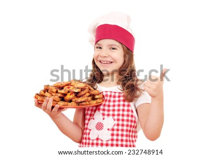happy little girl cook with bruschette and thumb up