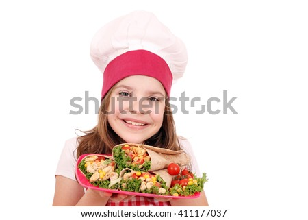Happy little girl cook with burritos fast food