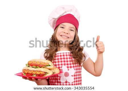 happy little girl cook with hot dog and thumb up