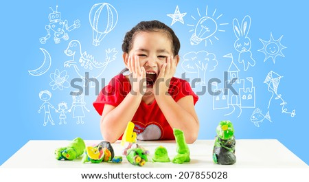 Happy little girl create idea. fun for create thinking.dream drawing on background - stock photo