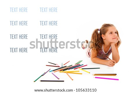 Happy Little Girl Drawing - stock photo
