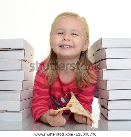 happy little girl eating pizza - white background
