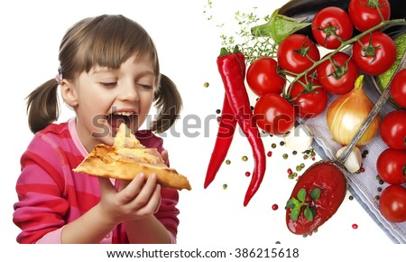 happy little girl eating pizza - white background - stock photo