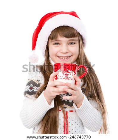 happy little girl enjoying big mug of hot drink. isolated on white background - stock photo