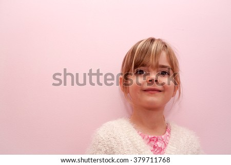 Happy little girl. Female Caucasian child of preschooler age smiling. Love and happiness concept. Model release. - stock photo
