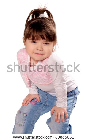 Happy little girl. Funny child isolated on white background.