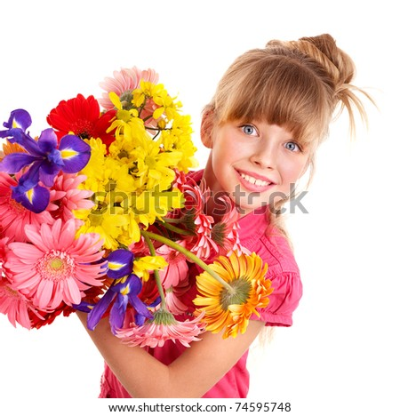 Happy little girl holding bunch of flowers. - stock photo