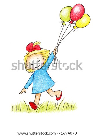 happy little girl in blue dress with three balloons on white background - stock photo