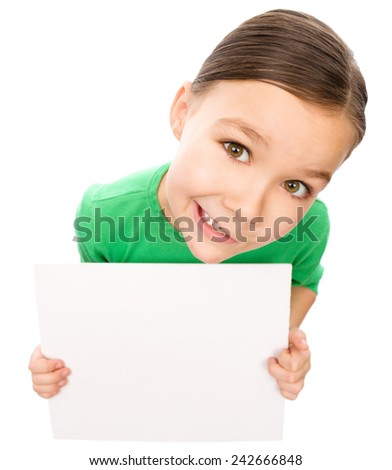 Happy little girl is holding blank board, fisheye portrait, isolated over white - stock photo