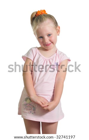 happy little girl  isolated over white background